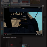 The lightbox of the original site, showing the embedded YouTube functionality (with short descriptive caption)