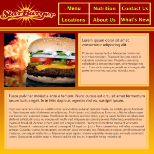 The design I created for the Star Burger website