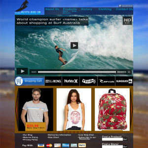 The design I created for the Surf Australia website