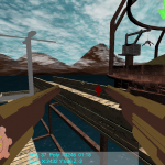 A screenshot of a later development phase showing the first level of the game with weaponry, health, health pickup, team scoring, ammunition and debug info area