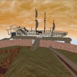 A screenshot of an early development phase of the game showing the first level with a wireframe ship and the default weapon (rifle)