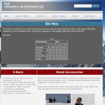 The Sports Warehouse Ski Hire page with data read in from the database